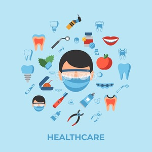 Digital vector dentistry and healthcare simple icons, flat style infographics Stock Vector