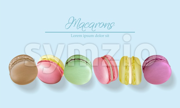 Colorful macaroons realistic Vector. Banner template layout 3d illustration. Menu dessert label product placement Stock Photo