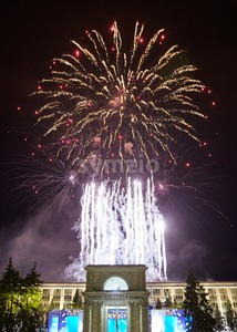 New Year fireworks above Chisinau city. View from triumphal arch Stock Photo