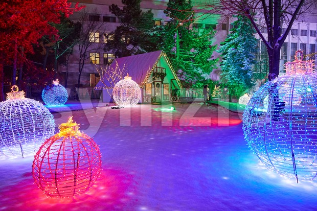 Chisinau christmas fair at night. Colorful decorations. Moldova Stock Photo