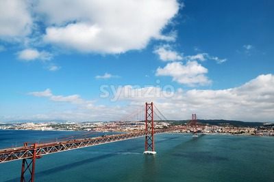 25 de Abril Bridge at daylight. Close up. Lisbon, Portugal Stock Photo