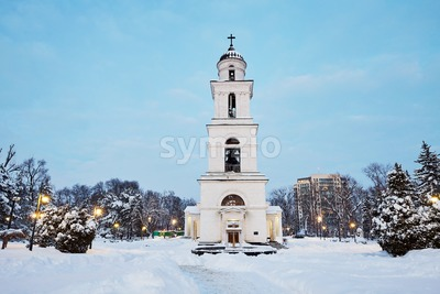 Bell Tower of the cathedral at sunset. Purple warm winter sky. Chisinau, Moldova Stock Photo