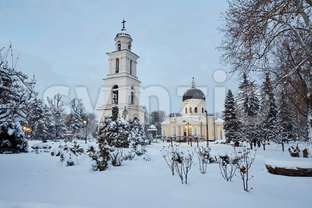 Nativity cathedral in winter season. View from park. Chisinau, Moldova