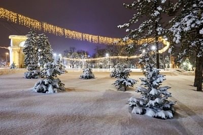 Central park at night in winter season. Chisinau, Moldova Stock Photo