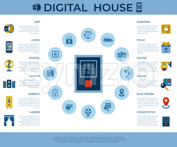 Digital vector wireless smart and digital house simple icons, flat style infographics