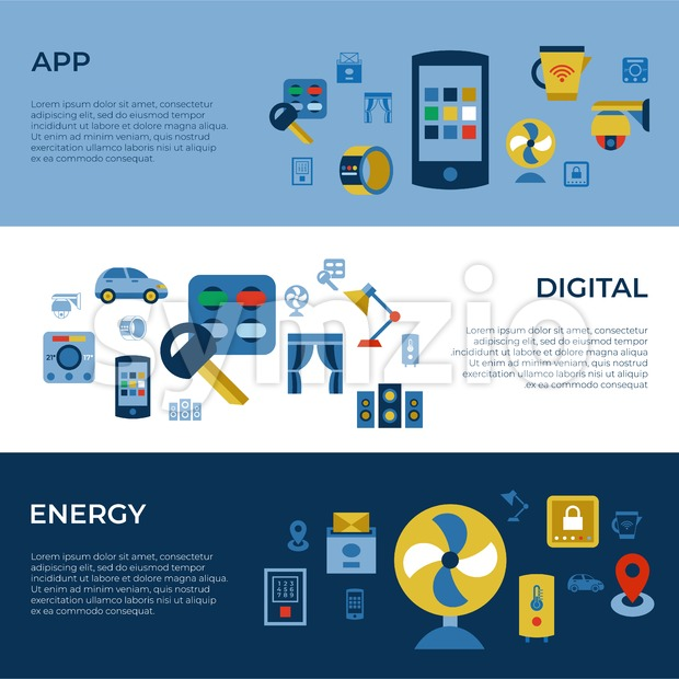 Digital vector wireless smart and digital house simple icons, flat style infographics Stock Vector