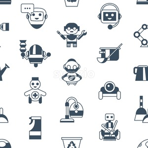 Digital vector service and cleaning home machine robots simple icons, flat style seamless pattern infographics Stock Vector