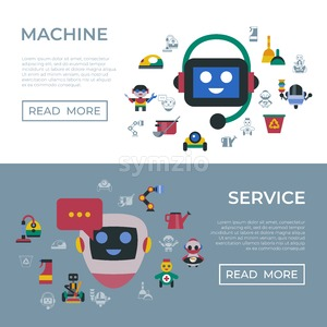 Digital vector service and cleaning home machine robots simple icons, flat style infographics Stock Vector