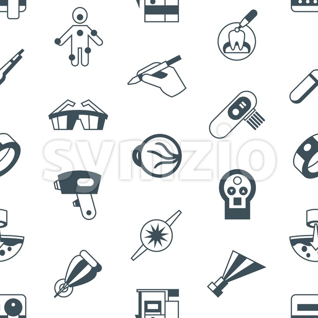 Digital vector medical lasers simple icons, flat style seamless pattern infographics Stock Vector