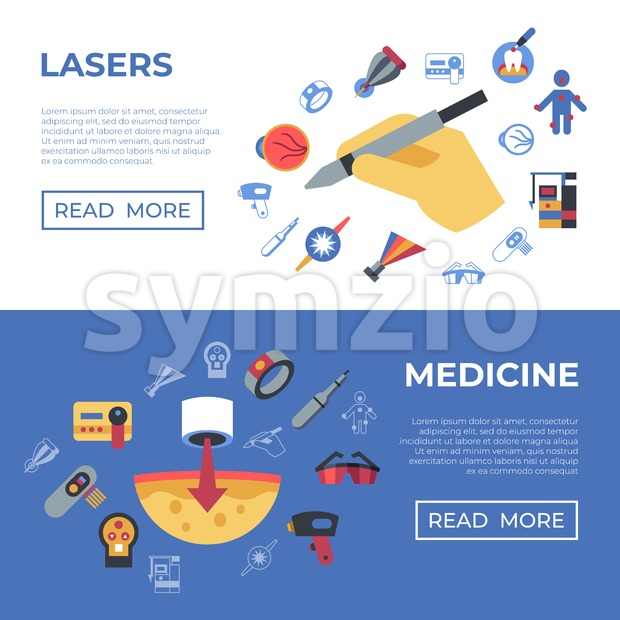 Digital vector medical lasers healthcare simple icons, flat style infographics Stock Vector