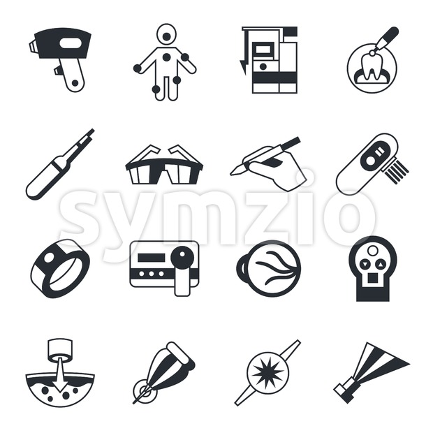 Digital vector medical lasers healthcare simple icons, flat style infographics