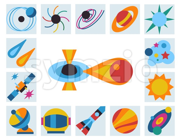 Digital vector black holes and cosmos universe simple icons, flat style infographics