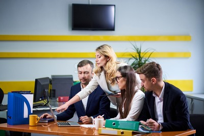 Team of caucasian mature women and men at meeting table discussing a business plan pointing at laptop computer in office Stock Photo