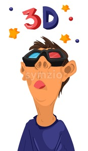 Boy watching 3d movies with glasses Vector. cartoon character Stock Vector