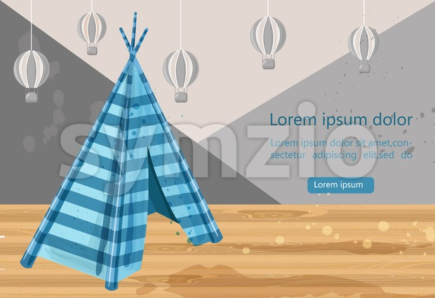 Camp tent hovel Vector. Tent-hut for kids games. Element for graphic design. Blue color hut. Abstract air balloons on background Stock Vector