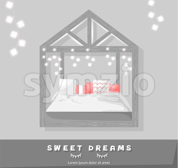 Sweet dreams cozy bedroom Vector flat style. Modern trendy decoration Stock Vector