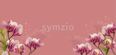 Magnolia flowers Vector on pink background. Beautiful card template Stock Vector