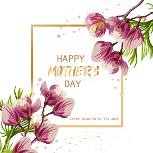 Happy Mother day with magnolia flowers Vector. Beautiful card template Stock Vector