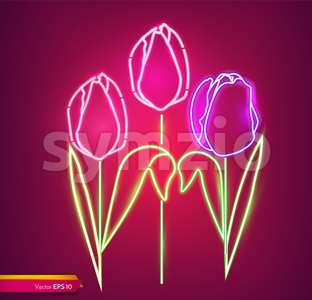 Tulip flowers neon light Vector. Vintage board. Glowing bouquet. Shiny Neon Light Poster, Flyer, Banner, Postcard, Invitation. Vector 3d Illustration Stock Vector