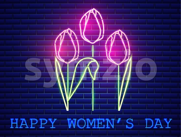 Happy Mother day tulip bouquet neon light Vector. Vintage board. Glowing bouquet. Shiny Neon Light Poster, Flyer, Banner, Postcard, Invitation. Vector Stock Vector