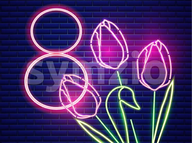 8 march tulip flowers neon light. Vintage board. Glowing bouquet. Shiny Neon Light Poster, Flyer, Banner, Postcard, Invitation. Vector 3d Illustration Stock Vector
