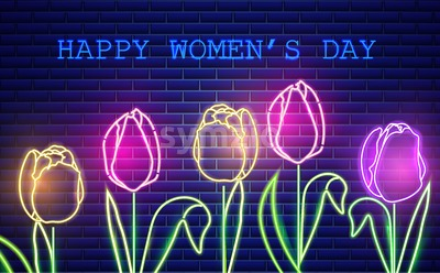 Happy Mother day tulip flowers neon light Vector. Vintage board. Glowing bouquet. Shiny Neon Light Poster, Flyer, Banner, Postcard, Invitation. Vector Stock Vector