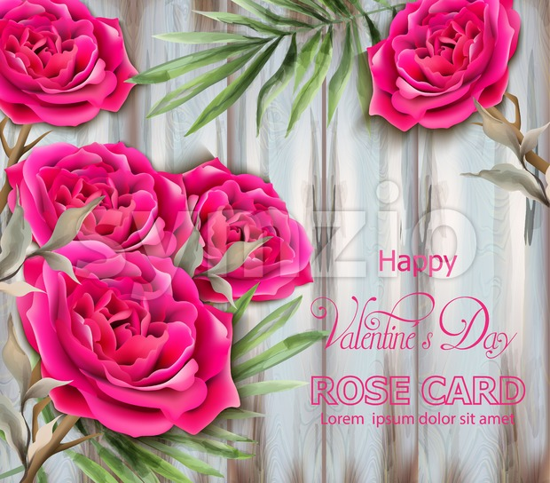 Roses card Vector realistic. Beautiful floral decor with palm leaves. Exotic tropic postcards. Fucsia rose flower Stock Vector