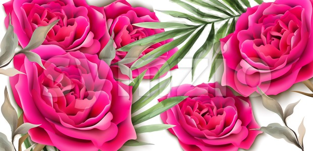 Roses card Vector realistic. Beautiful floral decor palm leaves. Exotic tropic postcards. Fucsia rose flower Stock Vector