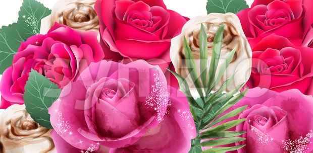 Pink roses and glitter watercolor Vector. Beautiful floral background Stock Vector