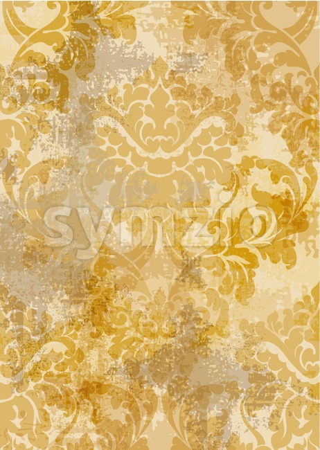 Rococo texture pattern Vector. Floral ornament decoration old effect. Victorian engraved retro design. Vintage fabric decors. Golden yellow color Stock Vector