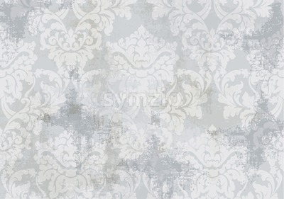 Rococo texture pattern Vector. Floral ornament decoration old effect. Victorian engraved retro design. Vintage fabric decors. Gray color Stock Vector