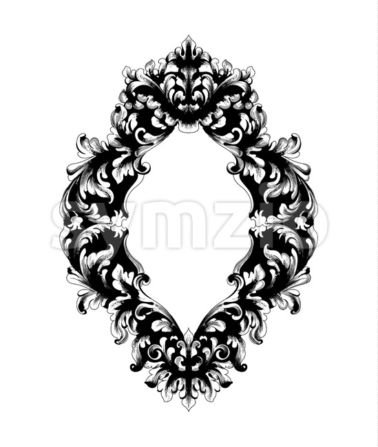 Imperial Baroque Mirror frame Vector. French Luxury rich intricate ornaments. Victorian Royal Style decor Stock Vector