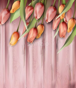 Tulips flowers on wooden texture Vector watercolor. Spring Summer trendy backgrounds. Coral tangerine color Stock Vector