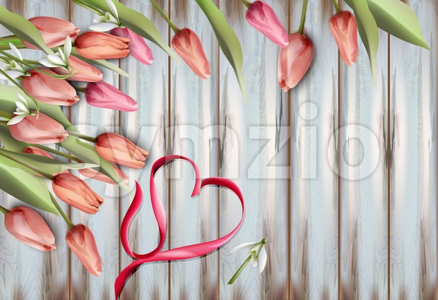 Tulips flowers on wooden texture Vector watercolor. Heart bow. Spring Summer background Stock Vector
