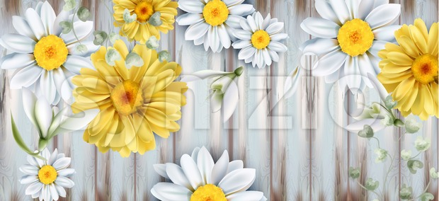 Daisy and tulips flowers bouquet Vector watercolor. Spring Summer backgrounds. Wooden texture