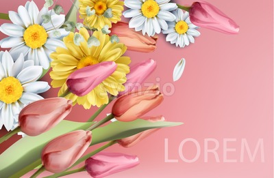 Daisy and tulips flowers bouquet Vector watercolor. Spring Summer trendy background Stock Vector