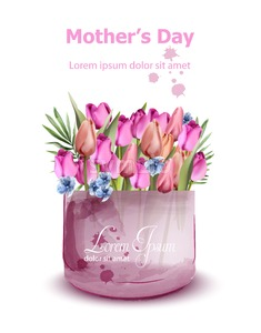 Mothers day tulips card Vector watercolor. Holiday fresh background. Spring colorful floral bouquet Stock Vector