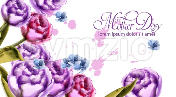 Mother day bouquet flowers card Vector watercolor. Spring bouquet card template Stock Vector