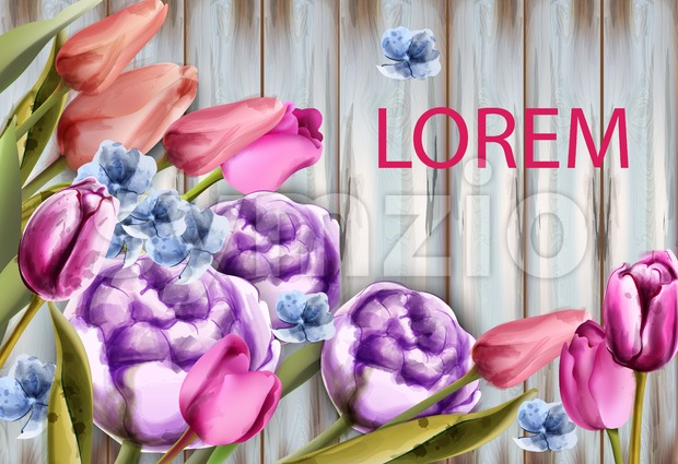 Spring bouquet on wooden background Vector. Tulips and roses watercolor. Spring summer card Stock Vector