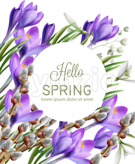 Crocus flowers Vector watercolor. Spring season delicate frame. Template design card for wedding, birthday, mother day Stock Vector