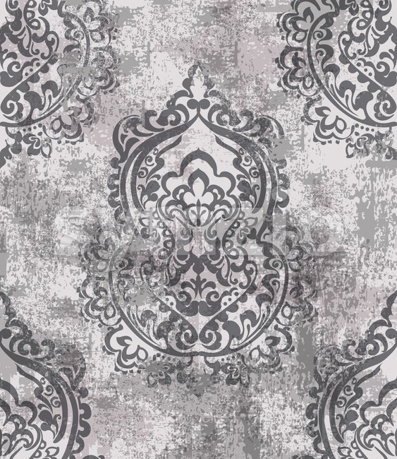 Baroque grunge texture pattern Vector. Floral ornament decoration old effect. Victorian engraved retro design. Vintage fabric decors. Luxury fabric Stock Vector