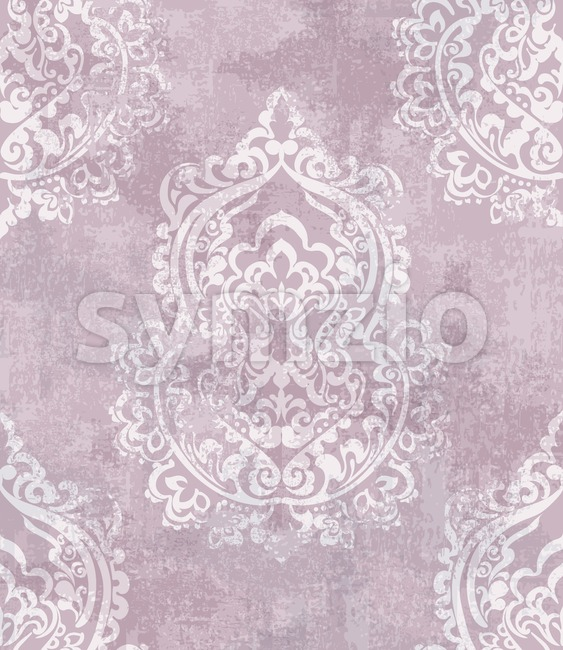 Baroque grunge texture pattern Vector. Floral ornament decoration old effect. Victorian engraved retro design. Vintage fabric decors. Luxury fabric pink ...