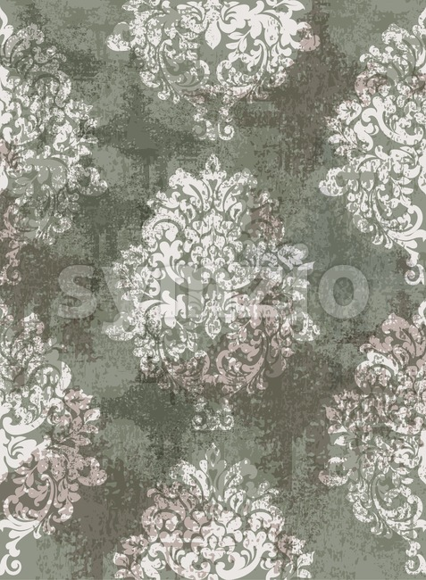 Baroque grunge texture pattern Vector. Floral ornament decoration old effect. Victorian engraved retro design. Vintage fabric decors. Luxury fabric