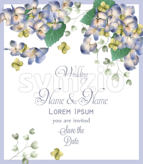 Wedding card with spring hydrangea flowers Vector watercolor. Romantic floral invitation or greeting card decoration. Women day, Valentines Day, sales Stock Vector
