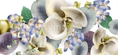 Orchid flowers vintage banner Vector watercolor. Delicate seasonal background. Beautiful spring floral design Stock Vector