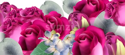 Pink roses bouquet Vector watercolor. Floral background. Beautiful spring floral design Stock Vector
