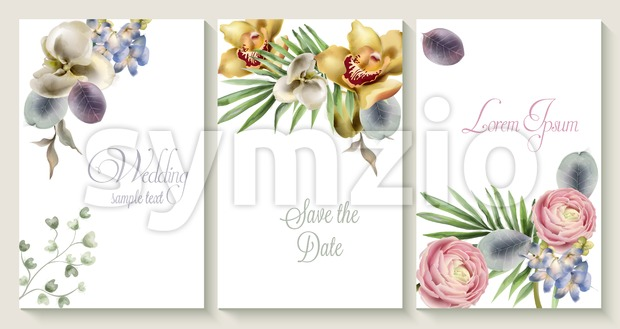 Vector Vertical wedding invitation card set with orchid flowers. Save the date botany design for wedding ceremony. Cosmetics brochure. beauty salon Stock Vector