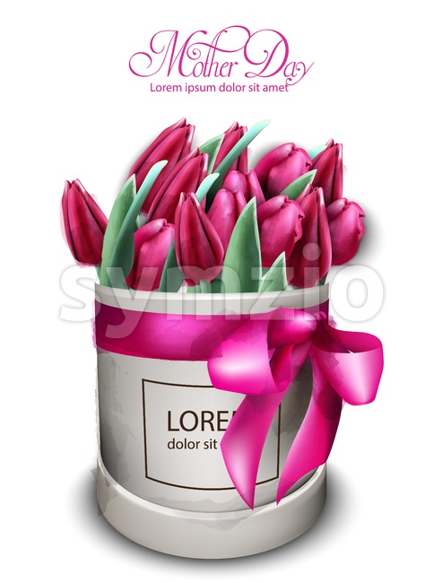 Pink tulip flowers bouquet Vector watercolor. Mother day card. Beautiful spring floral design Stock Vector