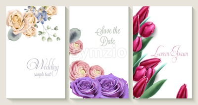 Vector Vertical wedding invitation card set with roses and tulip flowers. Save the date botany design for wedding ceremony. Cosmetics brochure. beauty Stock Vector