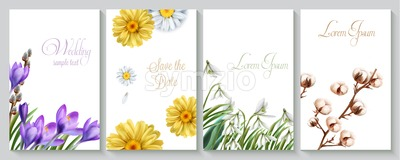 Vector Vertical wedding invitation card set with crocus, daisy, cotton flowers and snowdrops. Save the date botany design for ceremony, cosmetics Stock Vector